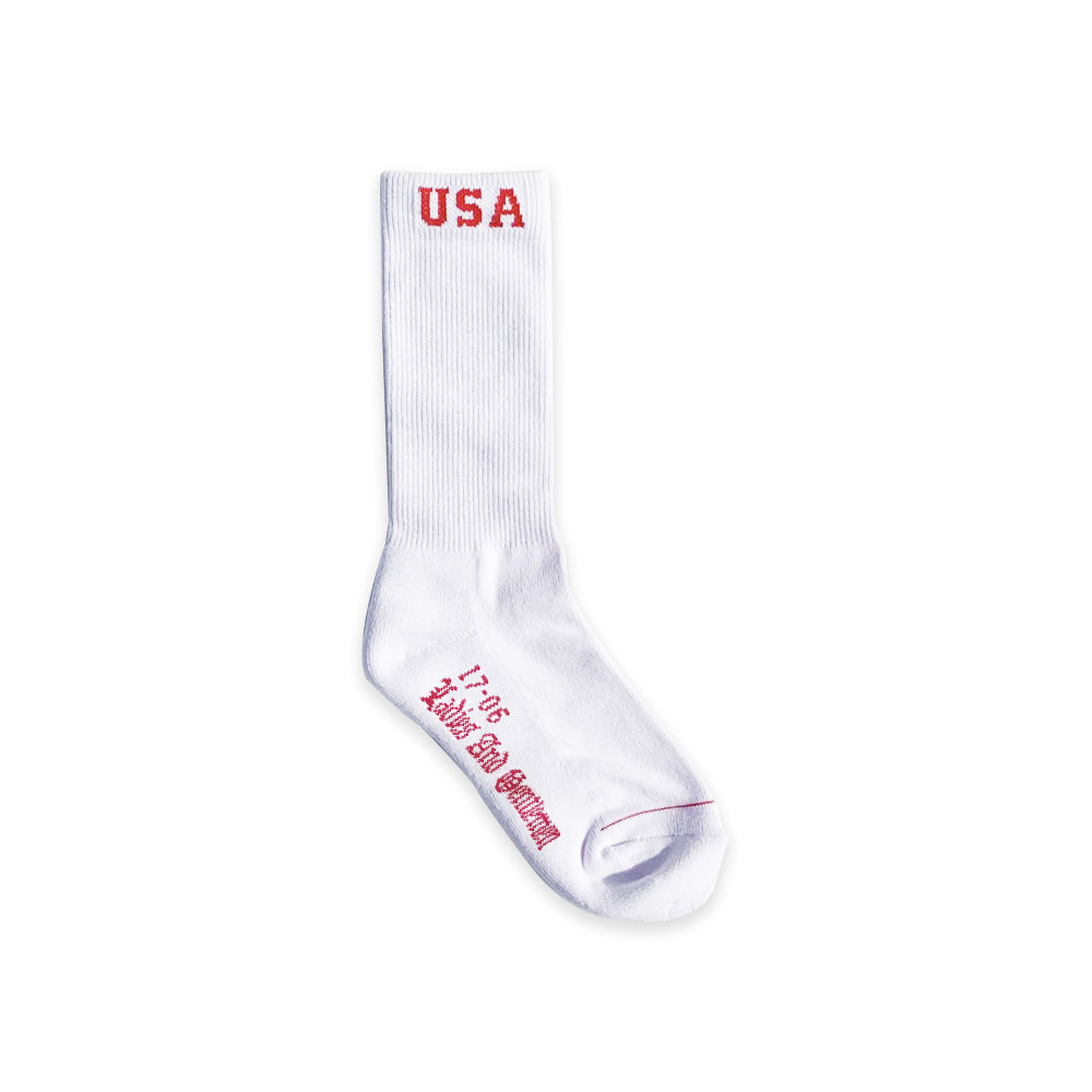 USA BORDER SOCKS WHITE RED LOGO